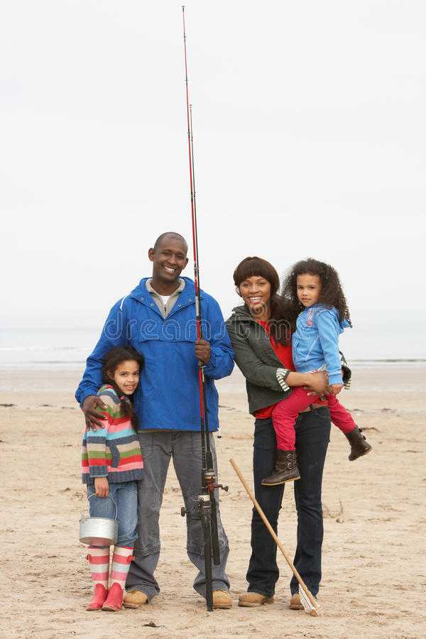 Free Family On Beach Fishing Trip Royalty Free Stock Photography - 15688007