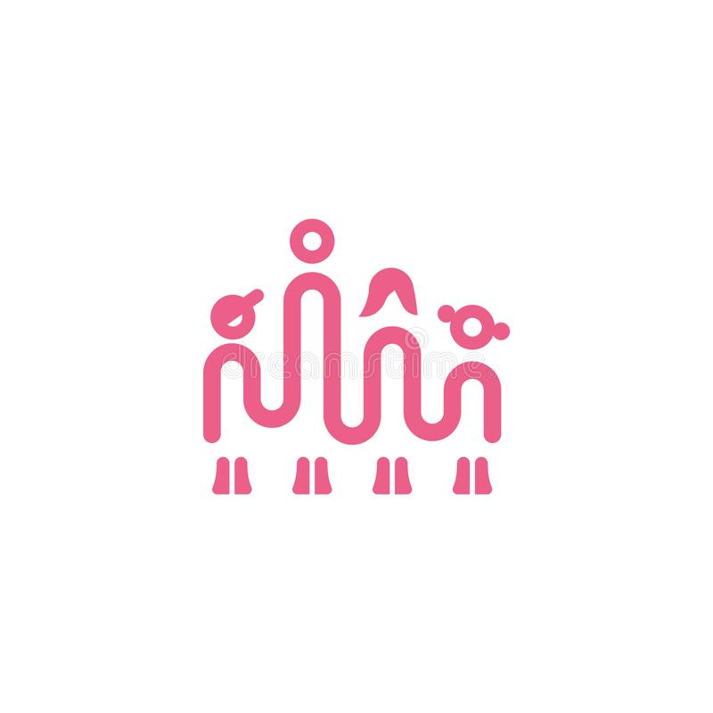 Family one line icon. Simple linear icon with dad mom son and daughter vector illustration