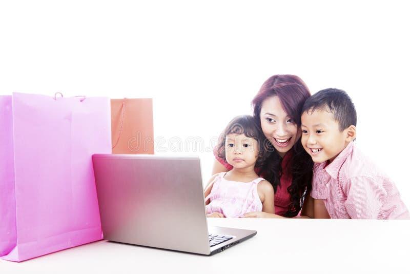 Family online shopping stock images