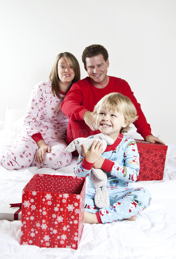 Family Opening Gifts On Christmas Stock Photo
