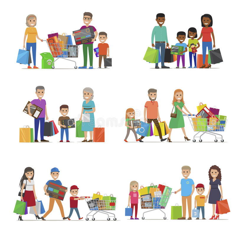 Family out on Shopping Set. Children and Parents royalty free illustration