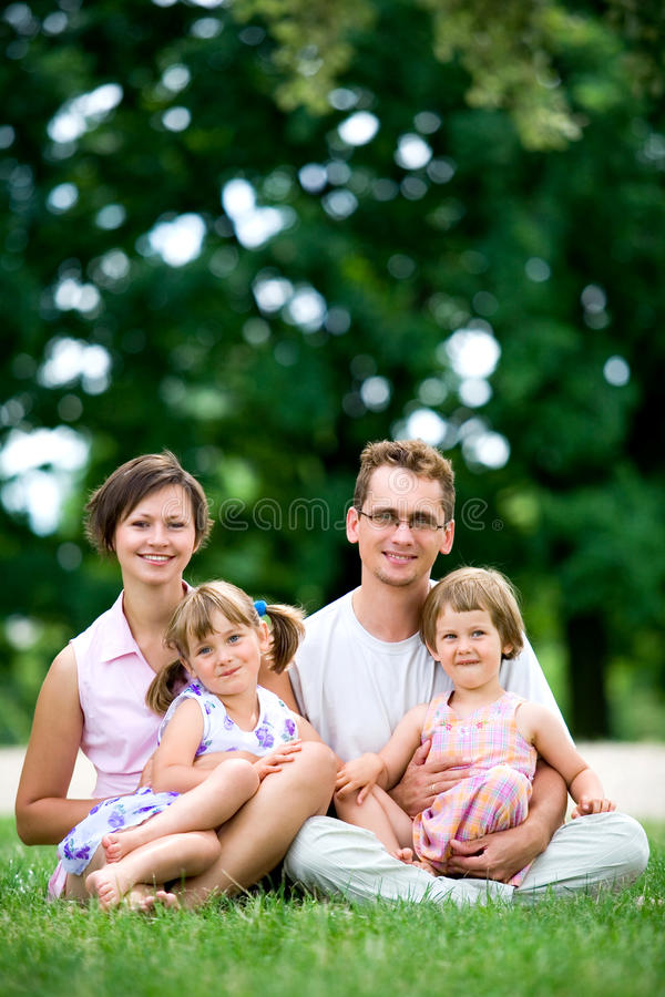 Family outdoors stock photography