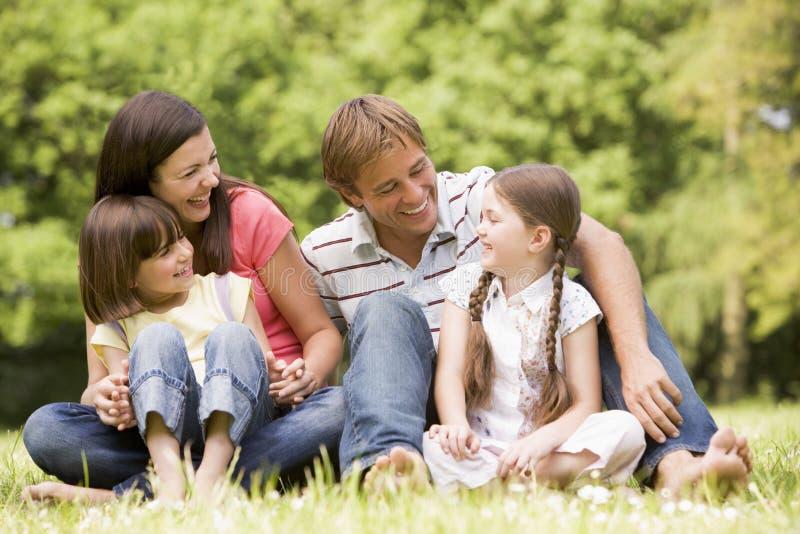 family outdoors smiling στοκ φωτογραφία