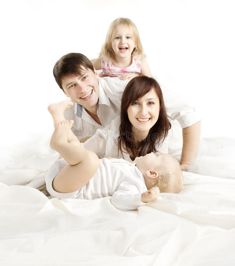 Family over White Background, Happy Parents with Children, Father Mother Kid and Baby, Four People White Isolated stock photography