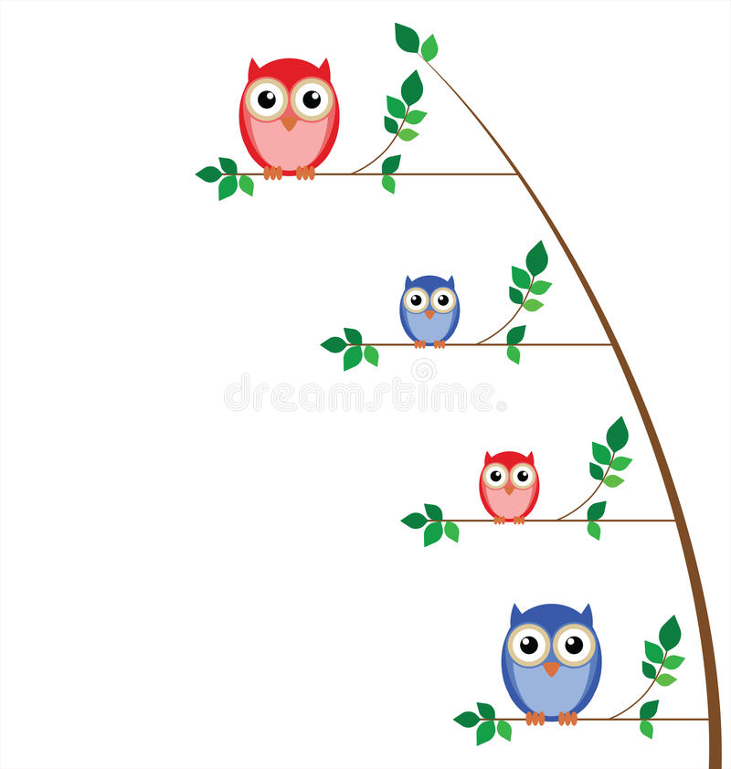 Family Of Owls Royalty Free Stock Photography