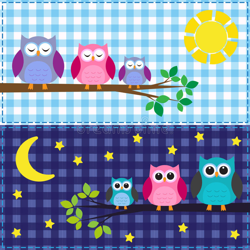 Download Family of owls stock vector. Image of girl, blue, moon - 24933315