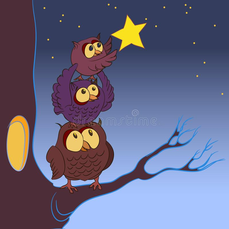 Download Family Of Owls, The Concept Of Dreaming, Illustration Stock Illustration - Illustration of backgrounds, drawing: 109596520