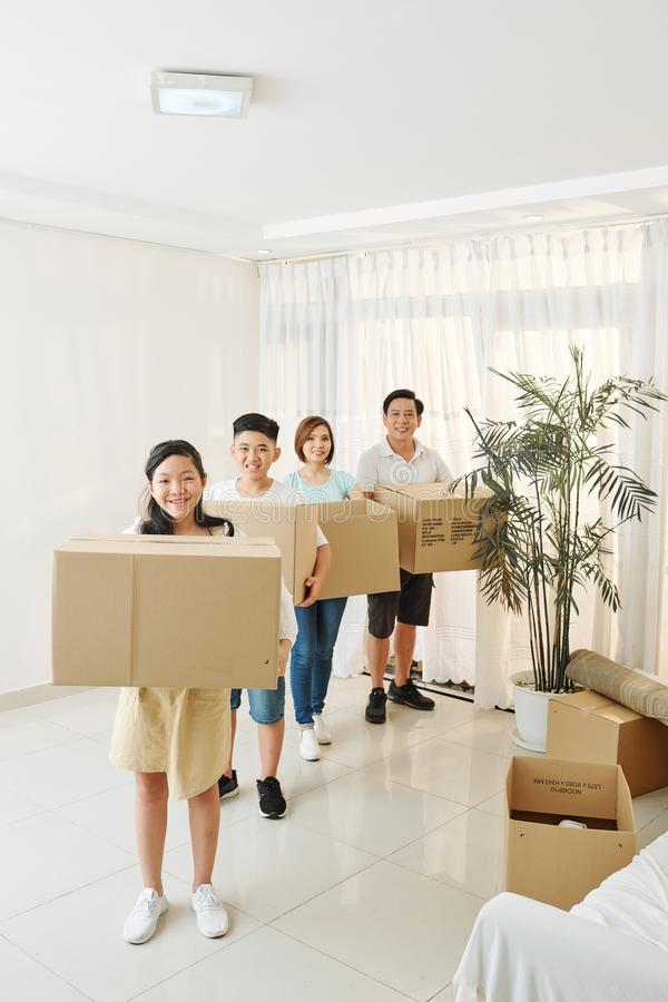 Family packed for house move stock photos
