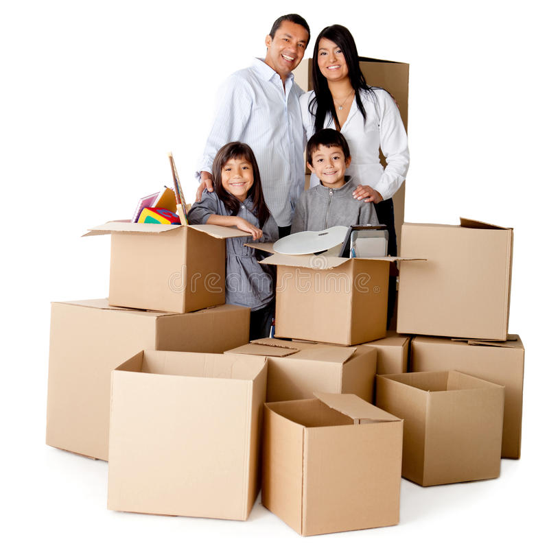 Family packing for moving