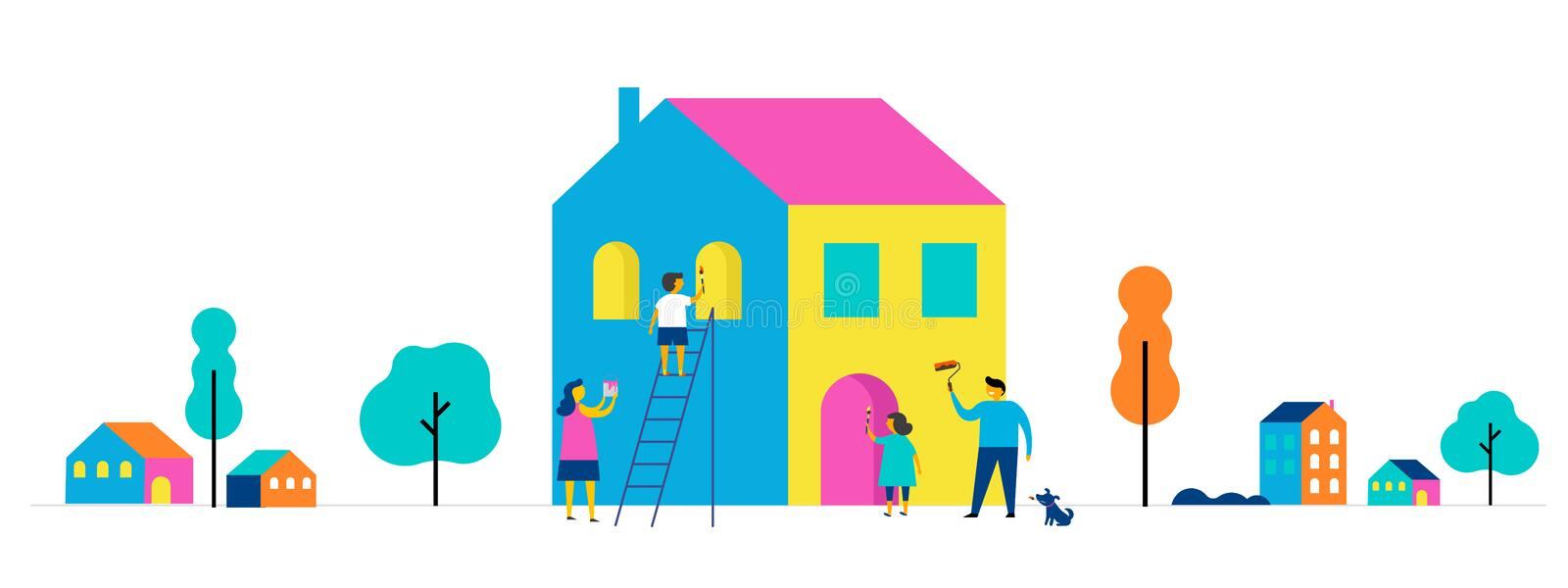 Family is painting home, concept design. Summer outdoor scene with colorful minimalistic flat vector illustration. Family is painting home, concept design with vector illustration