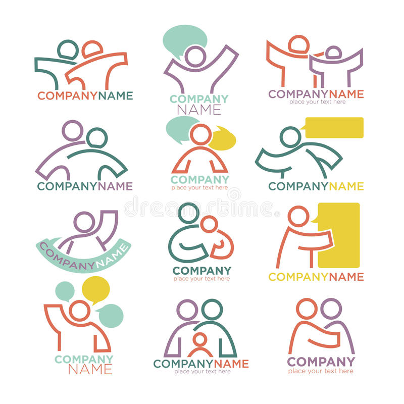 Family parents and child care logo templates. Vector symbols of vector illustration