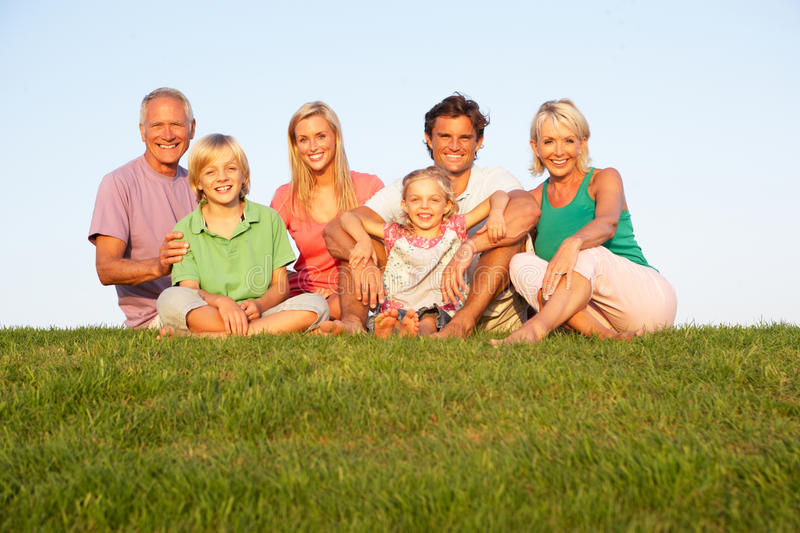 A family, with parents, children and grandparents stock photos