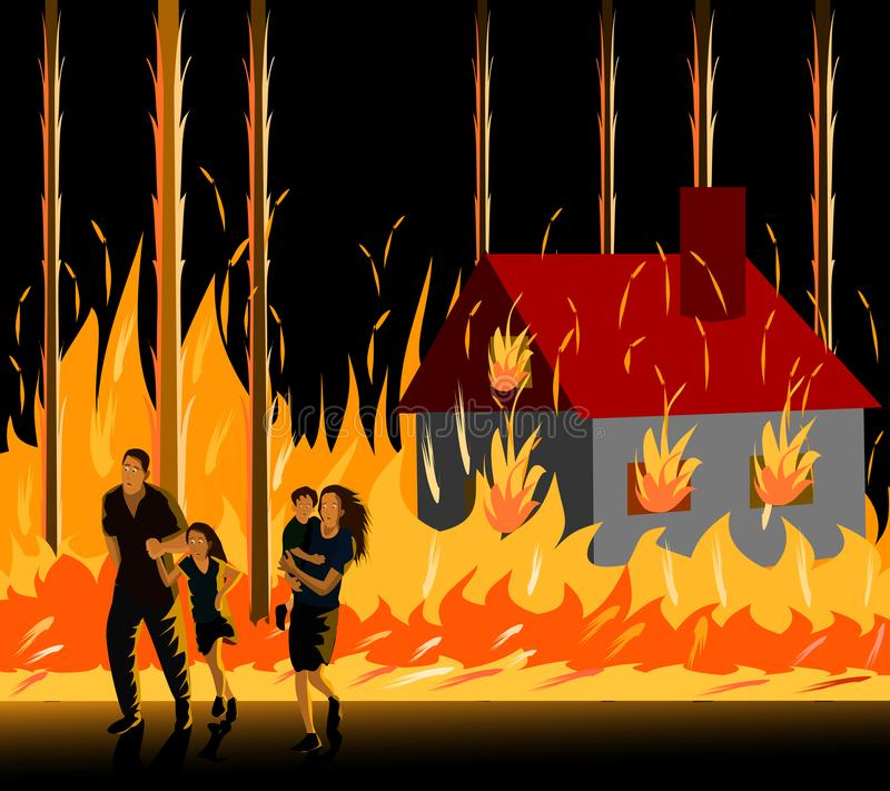 The family, parents are running away from the fires that are burning the house in the forest royalty free stock images