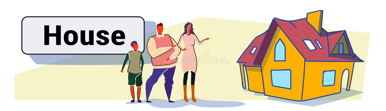 Family parents and son in front of big modern house residence estate new home exterior colorful sketch doodle horizontal. Banner vector illustration stock illustration