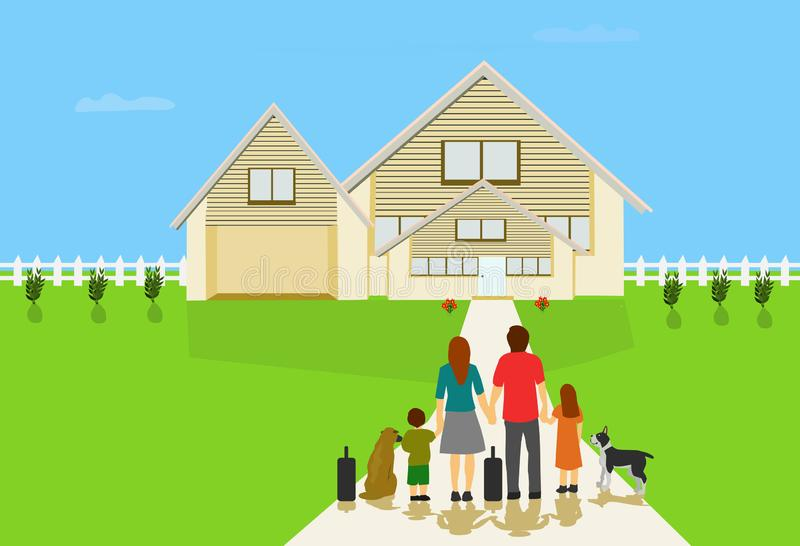 Family parents Will be living in a new white house, There is a lawn and a white fence around blue sky background royalty free illustration