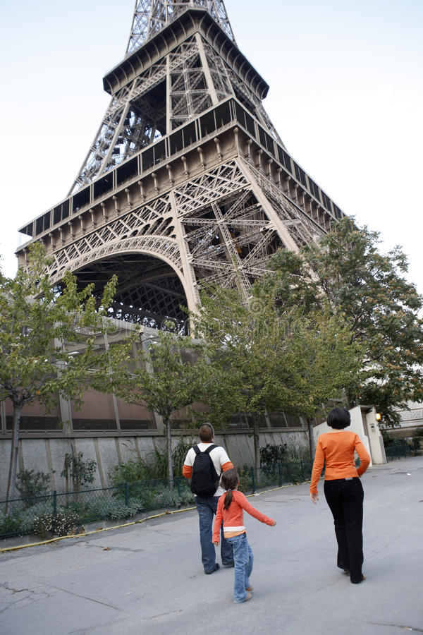 Family in Paris. Young family tours the paris stock photography