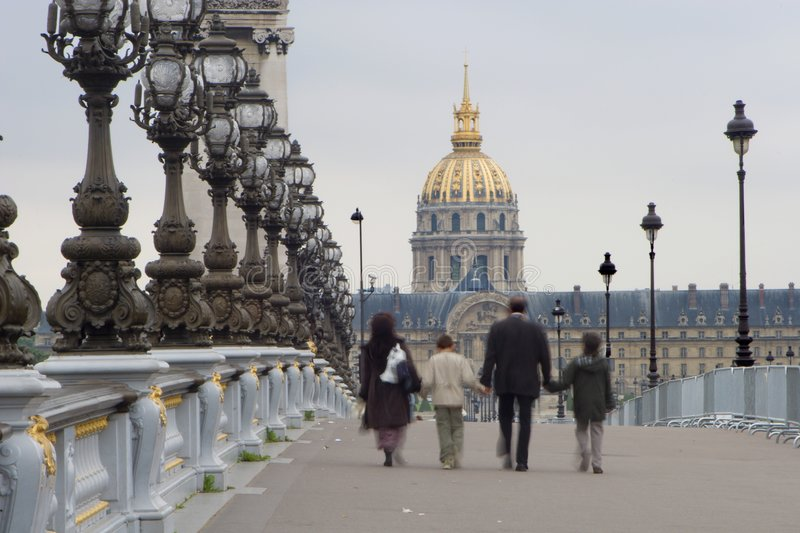 Family in Paris - Invalides church stock photography