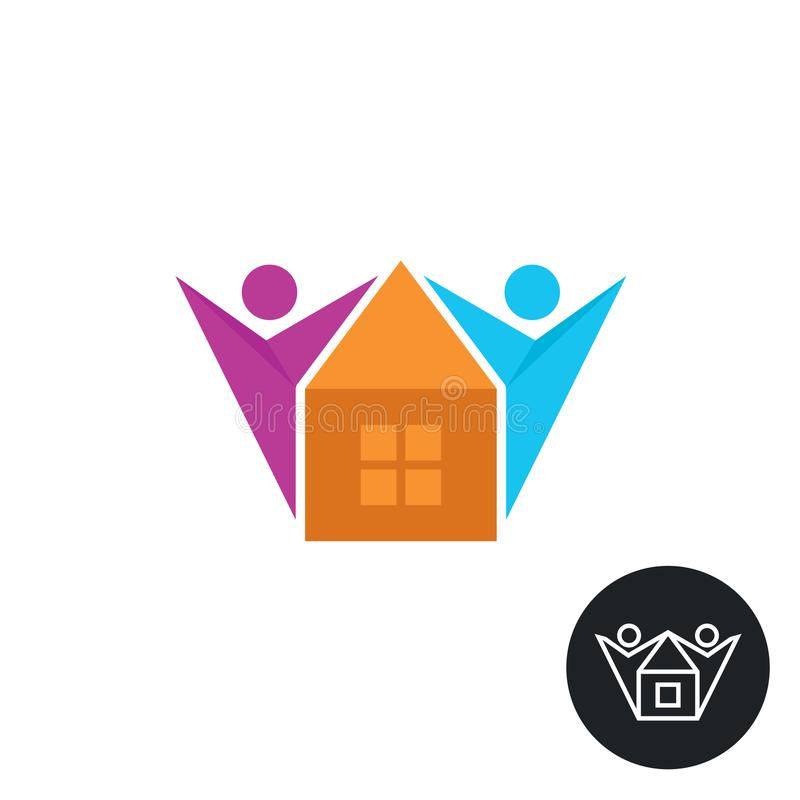 Family people with new house colorful logo vector illustration