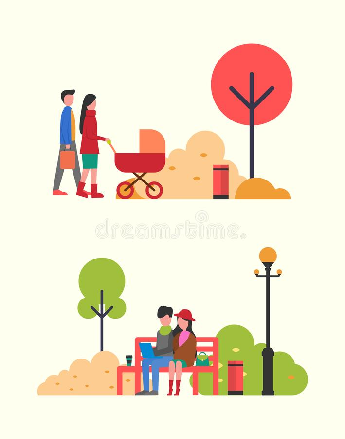 Family People with Pram, Couple Working in Park stock illustration