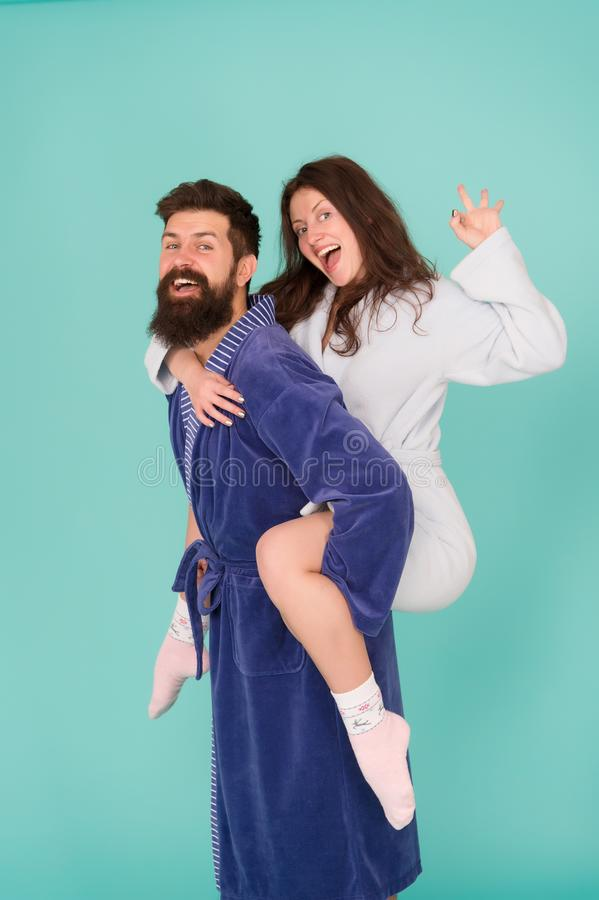 We are family. Perfect morning. happy woman and man in robe. Having fun. Happy family. romantinc couple in love. happy. We are family. Perfect morning. happy stock images