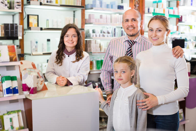 Family in the pharmacy royalty free stock photos