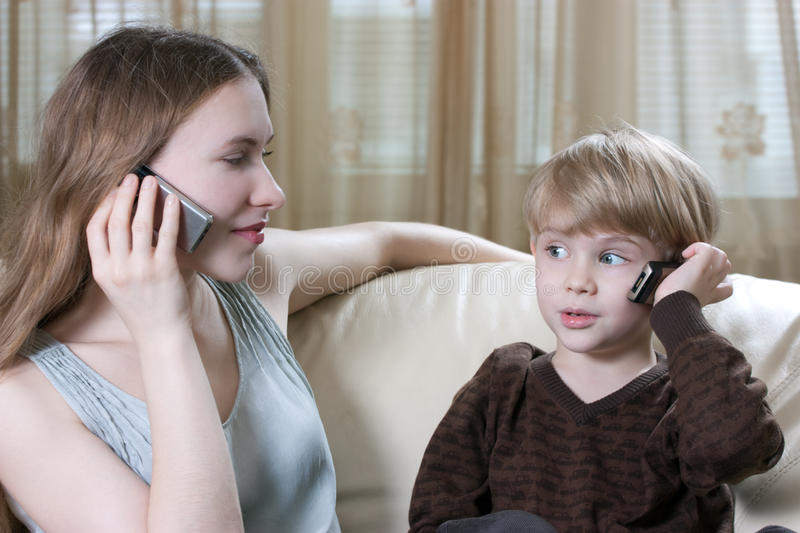 Family Phone Talking Royalty Free Stock Photo