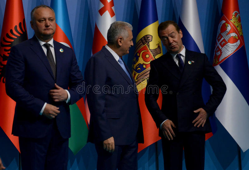 Family photo of the participants at the 25th anniversary Summit of the Black Sea Economic Cooperation BSEC stock photos