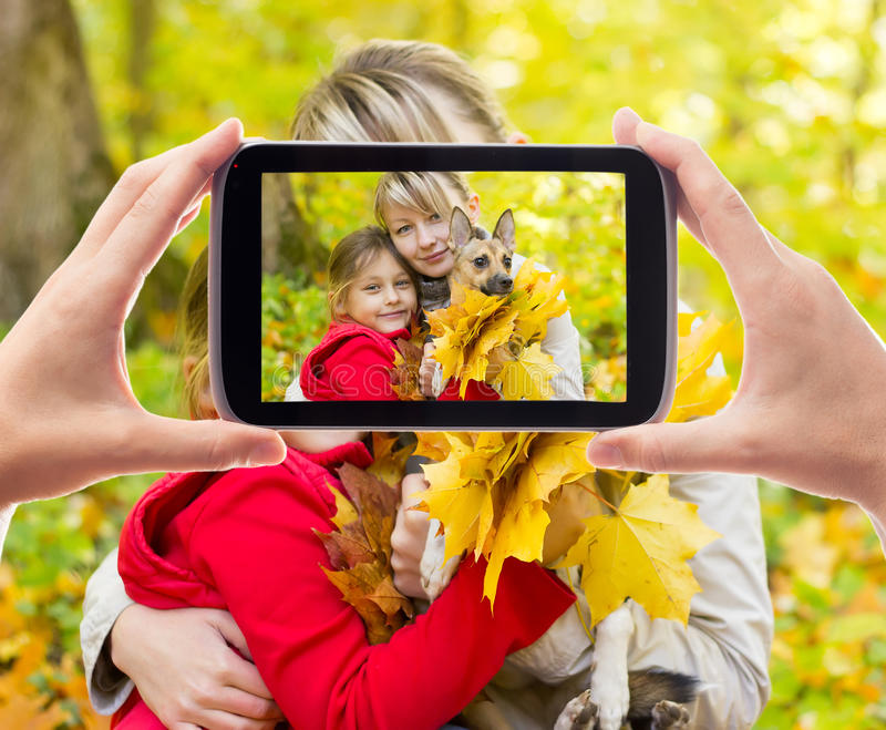 Family photographed. In the autumn forest stock photography