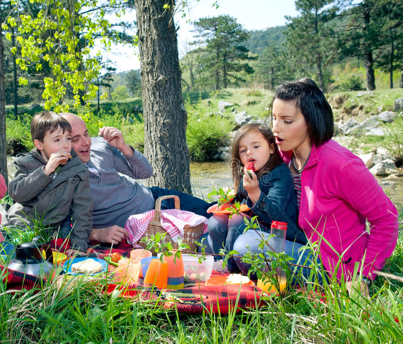 Family picnic. Young family having picnic by the river royalty free stock photos