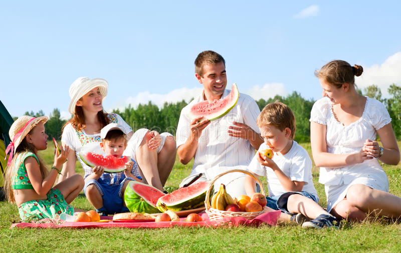 Family picnic. Happy family have a picnic outdoor stock photo