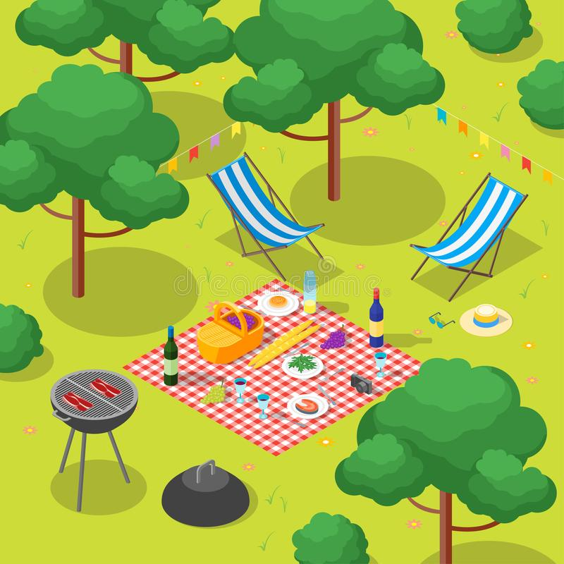 Family Picnic with Bbq Isometric View. Vector vector illustration