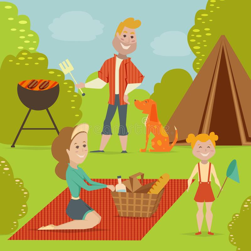 Family picnic. Bbq party concept. Cartoon vector illustration stock illustration