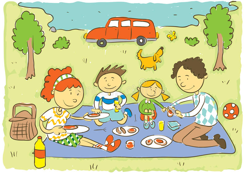 Family picnic stock vector. Illustration of cartoon, happy ...