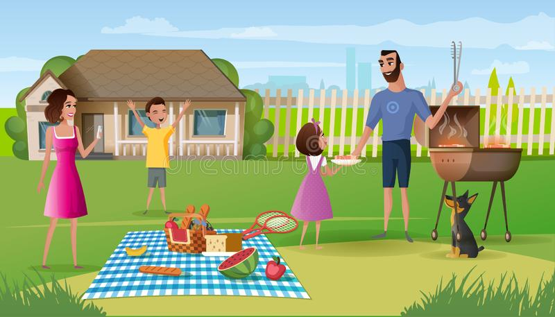 Family picnic on country house yard cartoon vector. Family picnic in countryside cartoon vector. Happy parents spending time with kids, eating snacks, cooking royalty free illustration