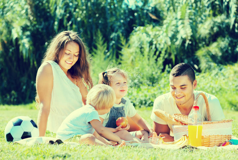 Family on picnic at countryside. Vacation day of happy young family with picnic at countryside in summer day stock photo