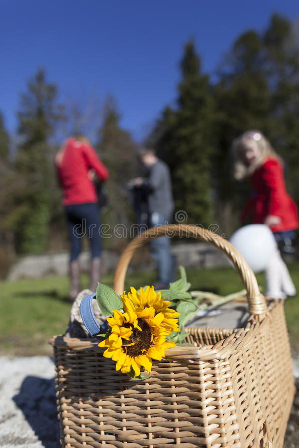Family on picnic. A family on a picnic, focus on the basket in the foreground stock image