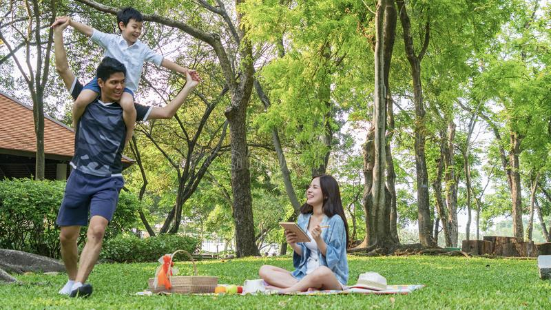Family Picnic at gaden park Outdoors Togetherness Relaxation Con stock photos