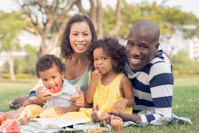 Family picnic. Happy family of four having picnic in the park stock image
