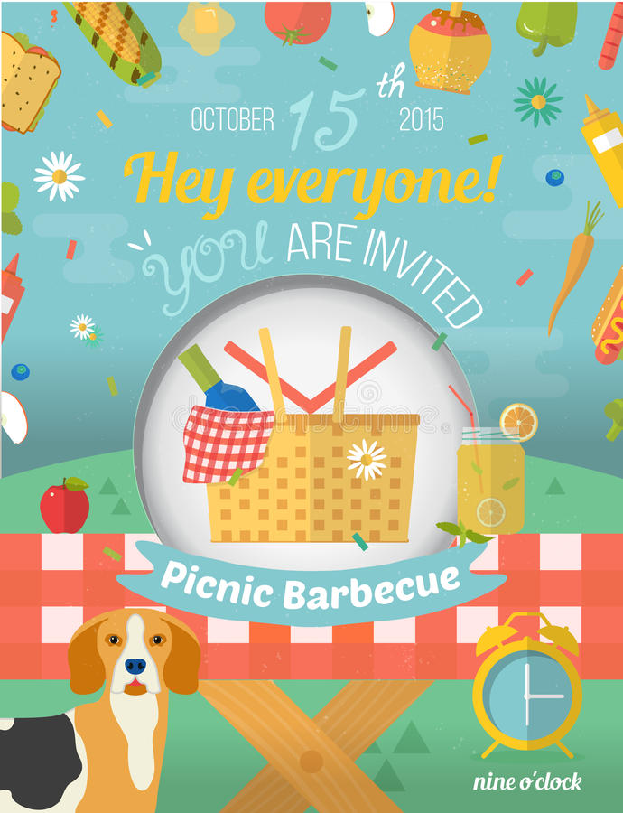 Family picnic invite card in vector format. Food. Glade illustration in flat style. Food and pastime icons. Barbecue party items. Creative design of invitation vector illustration