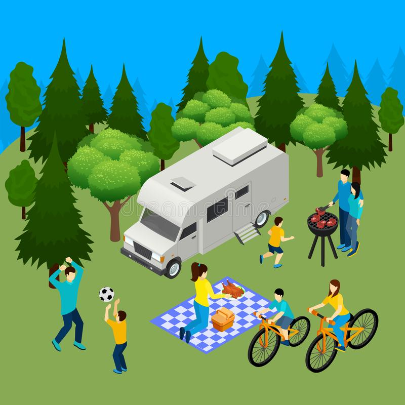 Family Picnic Isometric Composition royalty free illustration