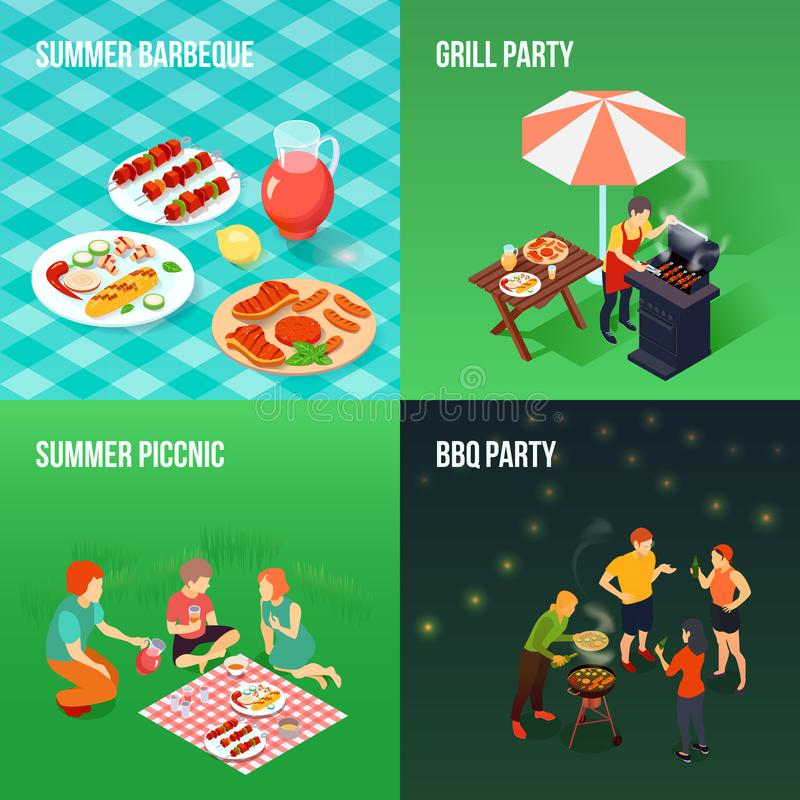 Family Picnic Isometric Concept royalty free illustration