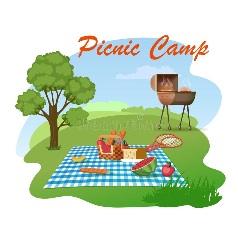 Family Picnic on Meadow Cartoon Vector Concept. Picnic Camp Cartoon Vector Concept. Beautiful Green Meadow Landscape, Various Food and Snacks Lying in Wicker vector illustration