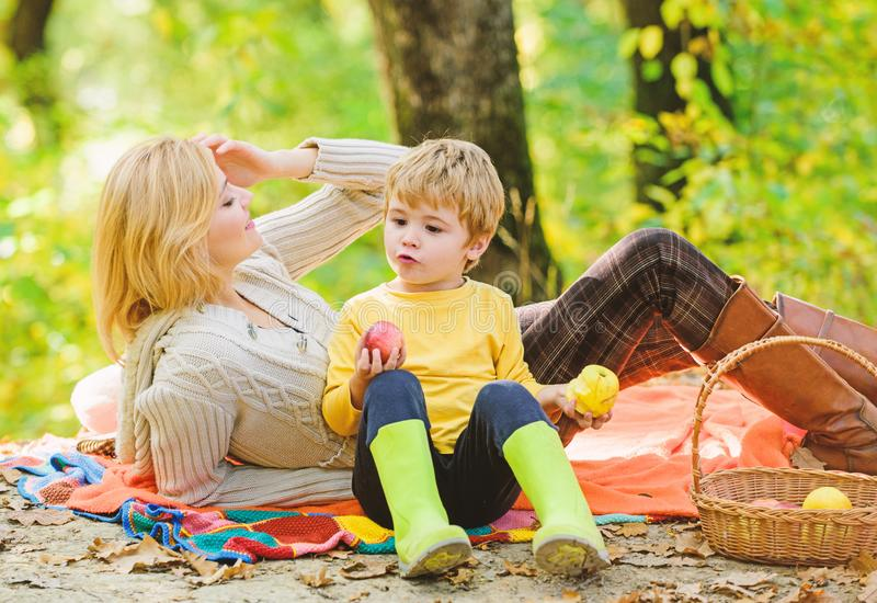 Family picnic. Mother pretty woman and little son relaxing forest picnic. Good day for spring picnic in nature. Having. Family picnic. Mother pretty women and stock photo