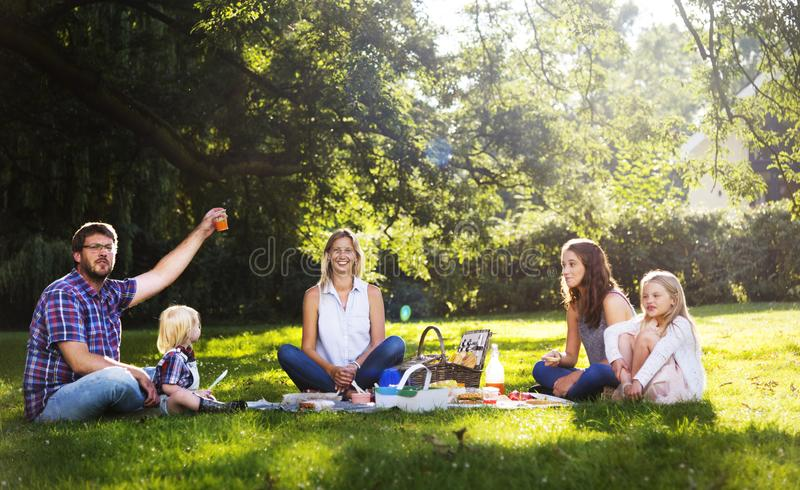 Family Picnic Outdoors Togetherness Relaxation Concept royalty free stock photo