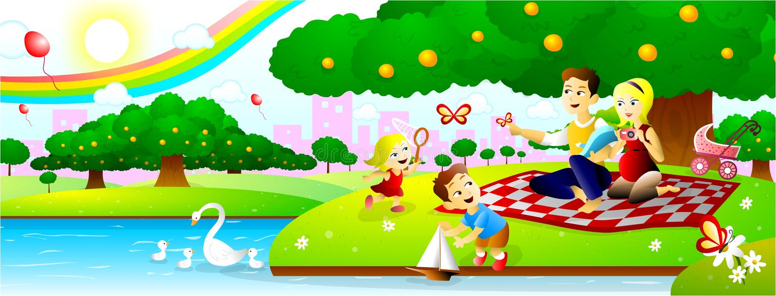 Download Family Picnic at park stock vector. Image of balloon - 29591228