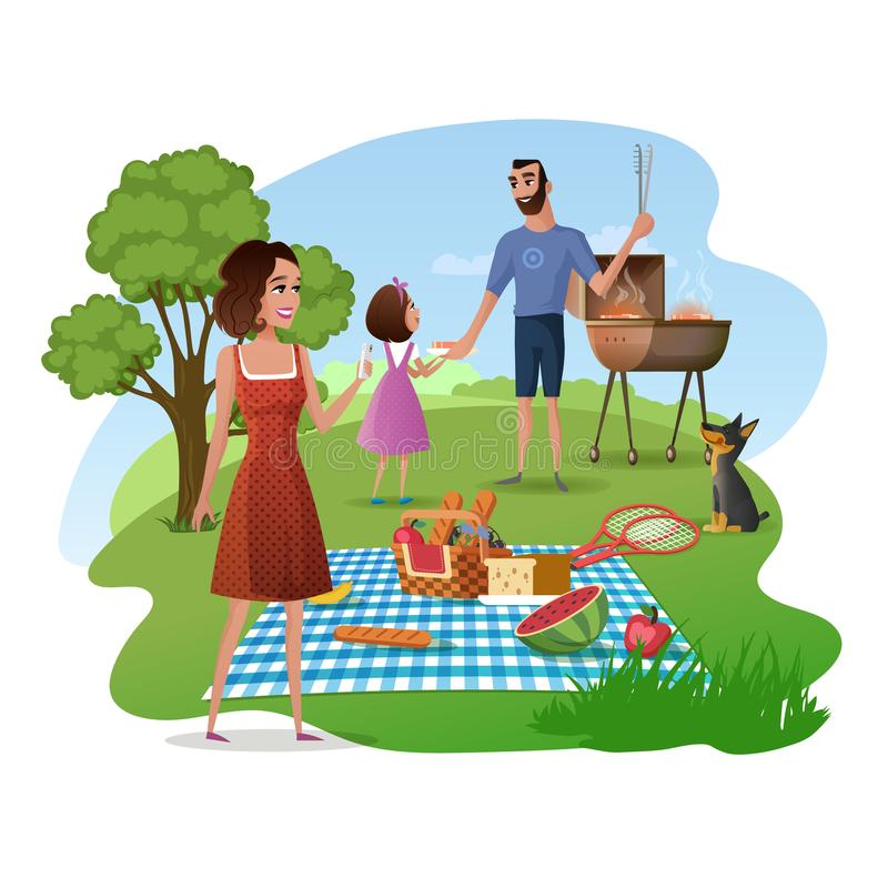 Family Picnic in Park or Garden Cartoon Vector. Happy Family Picnic Cartoon Vector Concept with Smiling Mother Taking Mobile Photo of Nature and Snacks in Basket royalty free illustration
