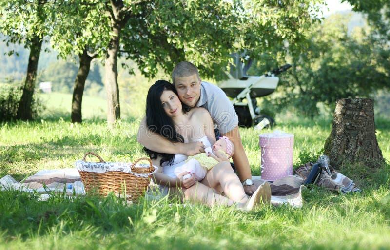 Family picnic in park stock photo