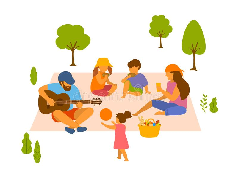 Family at picnic in the park isolated vector illustration. Scene royalty free illustration