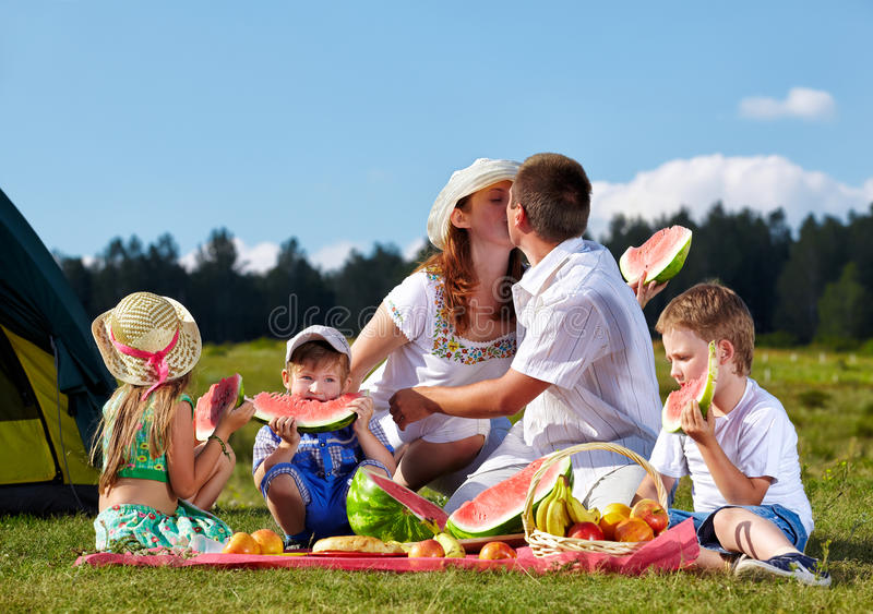Family picnic in park stock photo
