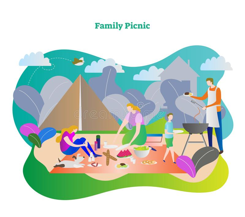 Family picnic vector illustration. Happy family together with mother, father, son, daughter and dog in camping trip weekend. Outdoor barbecue in lunch or stock illustration